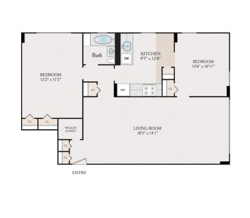2 Bedroom, 1 Bathroom 910-1150 sq. ft.