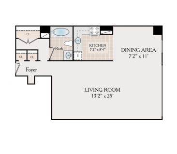 Studio. 615 sq. ft.